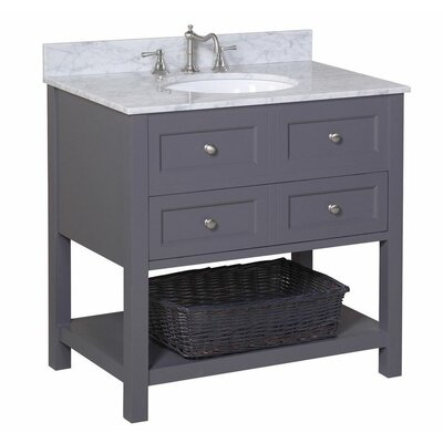 New Yorker 36 Single Bathroom Vanity Set Base Finish: Chocolate, Top Finish: Carrara Marble