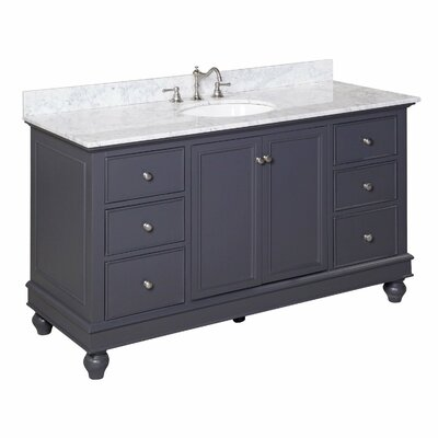 Bella 60 Single Bathroom Vanity Set Base Finish: Charcoal gray, Top Finish: Carrara marble