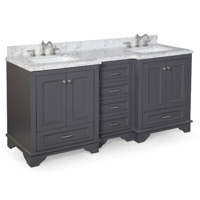 Nantucket 72 Double Bathroom Vanity Set Top Finish: Carrara Marble