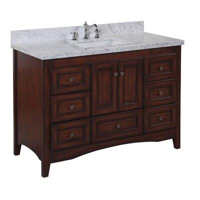 Abbey 48 Single Bathroom Vanity Set Top Finish: Carrara Marble, Base Finish: Chocolate