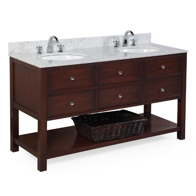 New Yorker 60 Double Bathroom Vanity Set Base Finish: Chocolate, Top Finish: Marble