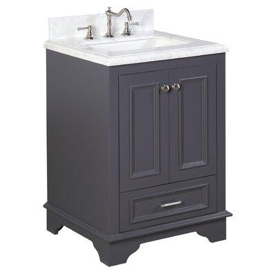 Nantucket 24 Single Bathroom Vanity Set Base Finish: Charcoal Gray, Top Finish: Carrara Marble