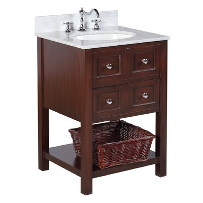 New Yorker 24 Single Bathroom Vanity Set Base Finish: Chocolate