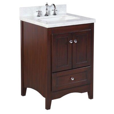 Abbey 24 Single Bathroom Vanity Set Base Finish: Chocolate, Top Finish: Carrara Marble