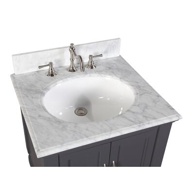 Beverly 24 Single Bathroom Vanity Set Base Finish: Chocolate, Top Finish: Carrara Marble