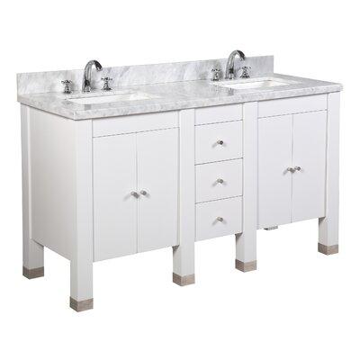 Riley 60 Double Bathroom Vanity Set Base Finish: White