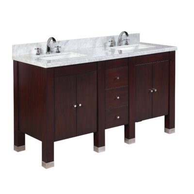 Riley 60 Double Bathroom Vanity Set Base Finish: Chocolate