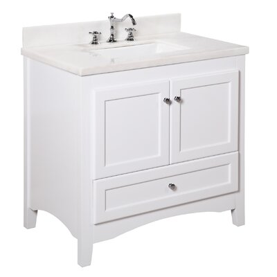 Abbey 36 Single Bathroom Vanity Set Top Finish: White Marble