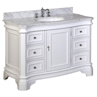 Katherine 48 Single Bathroom Vanity Set Base Finish: White, Top Finish: Carrara Marble