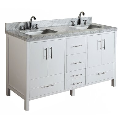 California 60 Double Bathroom Vanity Set Base Finish: White