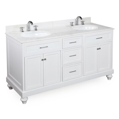 Amelia 60 Double Bathroom Vanity Set Base Finish: White, Top Finish: White Marble