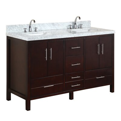 California 60 Double Bathroom Vanity Set Base Finish: White, Top Finish: Marble