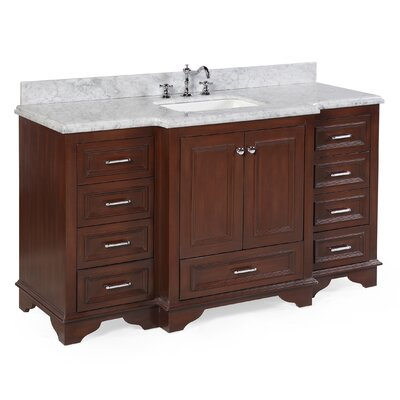 Nantucket 60 Single Bathroom Vanity Set Base Finish: Chocolate, Top Finish: Carrara Marble