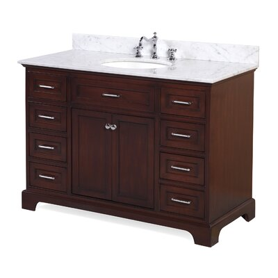 Aria 48 Single Bathroom Vanity Set Base Finish: Chocolate, Top Finish: Carrara Marble