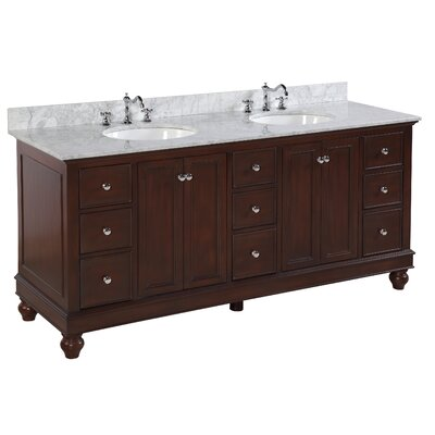 Bella 72 Double Bathroom Vanity Base Finish: Chocolate, Top Finish: Carrara Marble