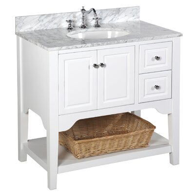 Washington 36 Single Bathroom Vanity Set Base Finish: White