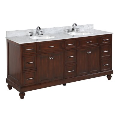 Amelia 72 Double Bathroom Vanity Set Base Finish: Chocolate, Top Finish: Carrara Marble