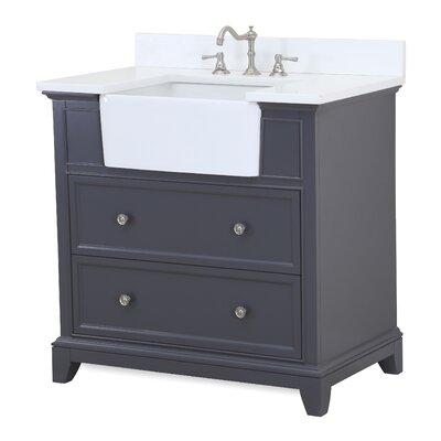 Sophie 36 Single Bathroom Vanity Set Base Finish: Charcoal Gray, Top Finish: Quartz