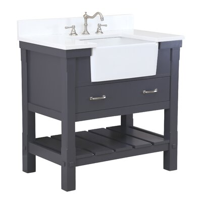 Charlotte 36 Single Bathroom Vanity Set Base Finish: White, Top Finish: Carrara Marble