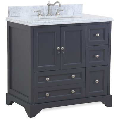 Madison 36 Single Bathroom Vanity Set Base Finish: Charcoal Gray, Top Finish: White/Gray