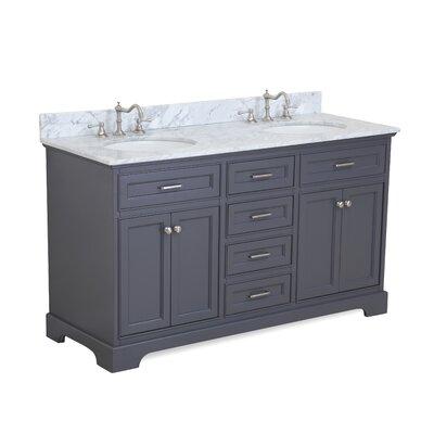 Aria 60 Double Vanity Set Base Finish: Charcoal Gray
