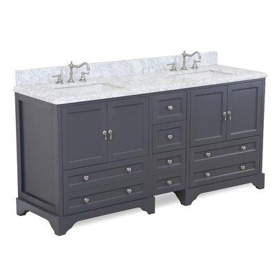 Madison 72 Double Bathroom Vanity Set Base Finish: Charcoal Gray