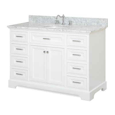 Aria 48 Single Bathroom Vanity Set Base Finish: White, Top Finish: Quartz