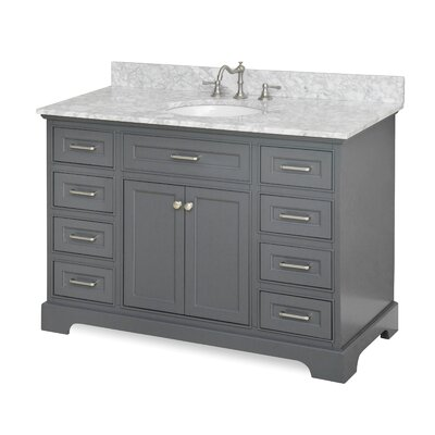 Aria 48 Single Bathroom Vanity Set Base Finish: Charcoal Gray, Top Finish: Quartz