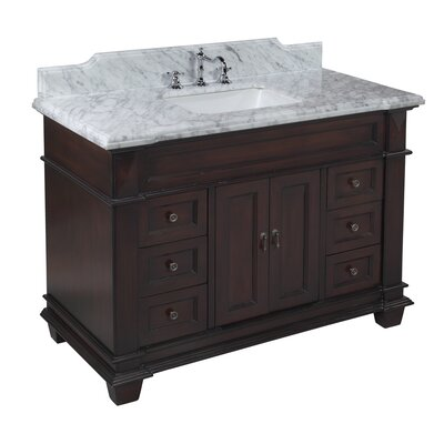 Elizabeth 48 Single Bathroom Vanity Set Top Finish: Carrara Marble, Base Finish: Chocolate