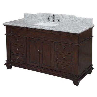 Elizabeth 60 Single Bathroom Vanity Set Base Finish: Chocolate, Top Finish: Carrara Marble