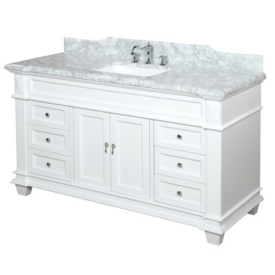 Elizabeth 60 Single Bathroom Vanity Set Base Finish: White, Top Finish: Carrara Marble