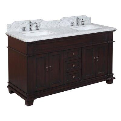 Elizabeth 60 Double Bathroom Vanity Set Base Finish: Chocolate, Top Finish: Carrara Marble
