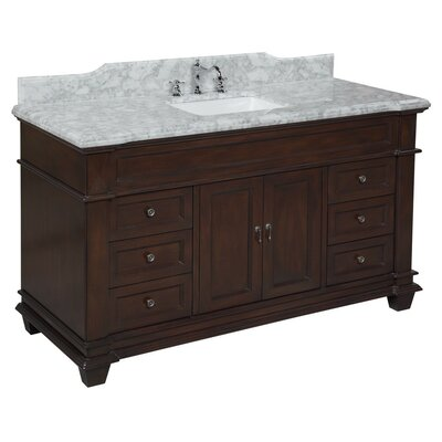 Elizabeth 60 Single Bathroom Vanity Set Base Finish: Chocolate, Top Finish: Carrara Marble