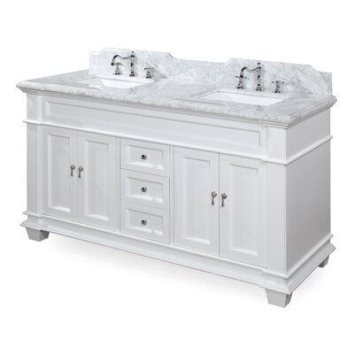 Elizabeth 60 Double Bathroom Vanity Set Base Finish: White, Top Finish: Carrara Marble