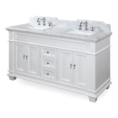 Elizabeth 60 Double Bathroom Vanity Set Base Finish: Charcoal Gray, Top Finish: Carrara Marble