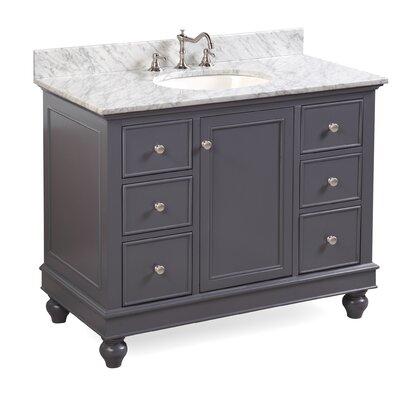 Bella 42 Single Bathroom Vanity Set Base Finish: Charcoal Gray, Top Finish: Carrara