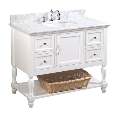 Beverly 42 Single Bathroom Vanity Set Base Finish: White, Top Finish: Carrara Marble