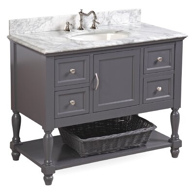 Beverly 42 Single Bathroom Vanity Set Base Finish: Charcoal Gray, Top Finish: Carrara Marble
