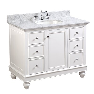 Bella 42 Single Bathroom Vanity Set Base Finish: White, Top Finish: Carrara