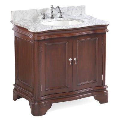 Katherine 36 Single Bathroom Vanity Set Base Finish: Chocolate, Top Finish: Marble