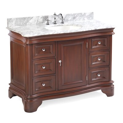 Katherine 48 Single Bathroom Vanity Set Base Finish: Chocolate, Top Finish: Carrara Marble