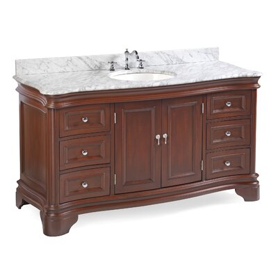 Katherine 60 Single Bathroom Vanity Set Top Finish: Carrara Marble