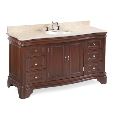 Katherine 60 Single Bathroom Vanity Set Top Finish: Crema Marfil