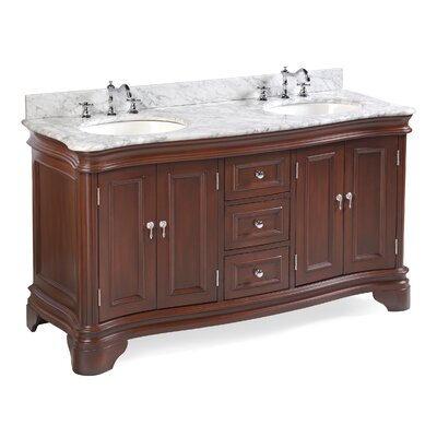 Katherine 60 Double Bathroom Vanity Set Top Finish: Carrara Marble