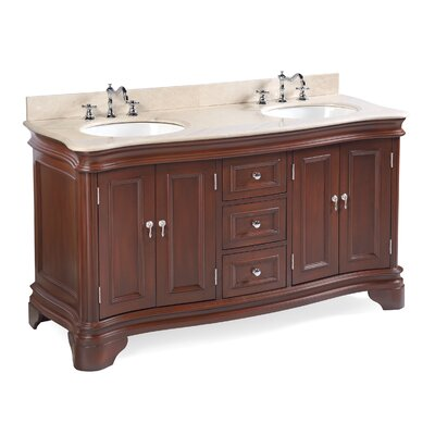 Katherine 60 Double Bathroom Vanity Set Top Finish: Crema Marfil