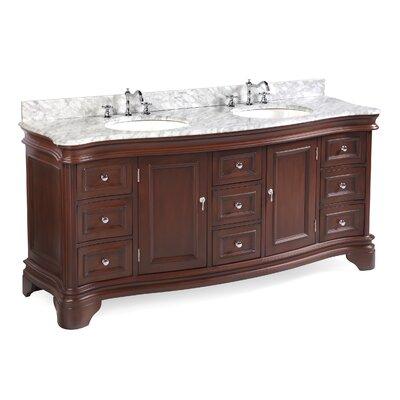 Katherine 72 Double Bathroom Vanity Set Base Finish: Chocolate, Top Finish: Carrara Marble