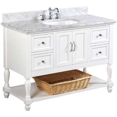 Beverly 48 Single Bathroom Vanity Set Base Finish: White, Top Finish: Carrara Marble