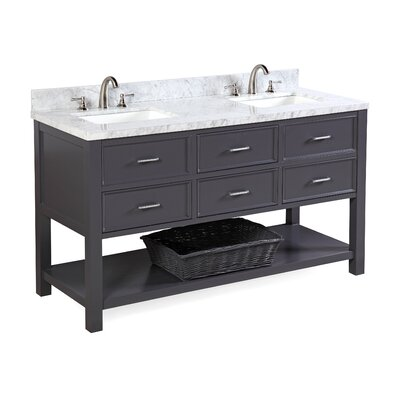 New Hampshire 60 Double Bathroom Vanity Set Base Finish: Charcoal Gray