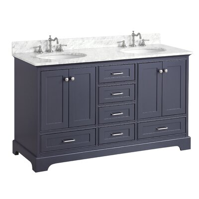 Harper 60 Double Bathroom Vanity Set Base Finish: Charcoal Gray