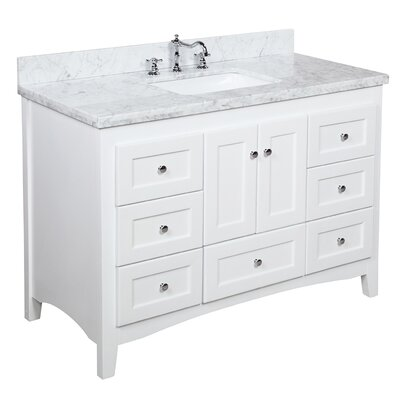 Abbey 48 Single Bathroom Vanity Set Top Finish: Carrara Marble, Base Finish: White